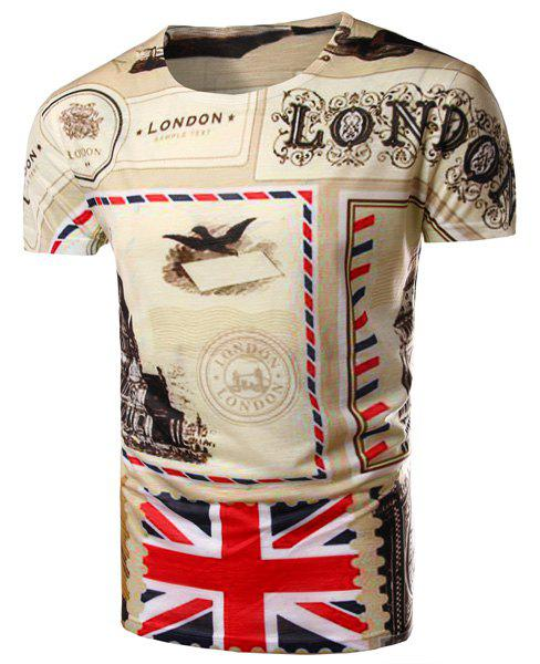 Round Neck Union Jack Print Short Sleeve Men's T-Shirt - COLORMIX M