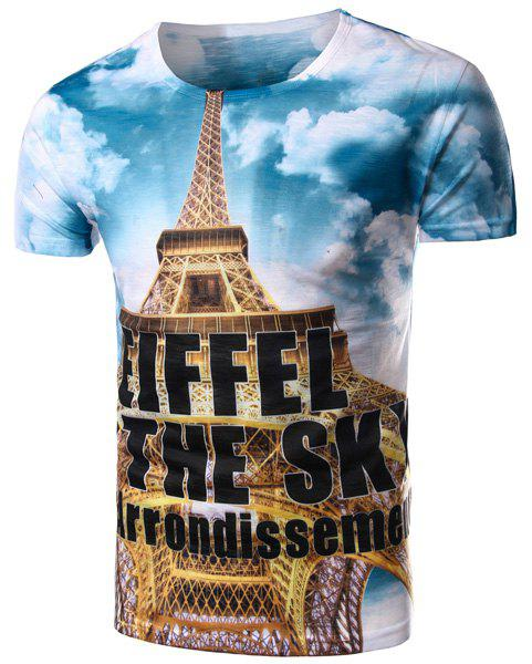 Round Neck Letters Print 3D Eiffel Tower Pattern Short Sleeve Men's T-Shirt - COLORMIX 2XL