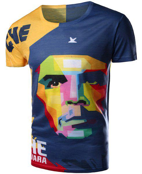 Modish Round Neck 3D Mix-Color Abstract Face Pattern Short Sleeve Men's T-Shirt - COLORMIX L