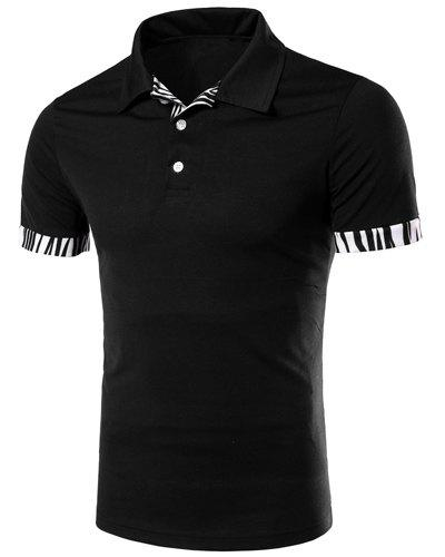 Zebra-Stripe Spliced Turn-down Collar Short Sleeves Men's Polo T-Shirt - BLACK L