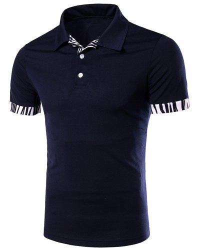 Zebra-Stripe Spliced Turn-down Collar Short Sleeves Men's Polo T-Shirt - CADETBLUE 2XL