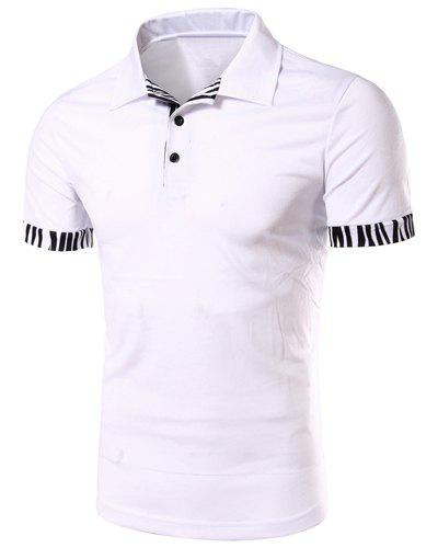 Zebra-Stripe Spliced Turn-down Collar Short Sleeves Men's Polo T-Shirt - WHITE 2XL