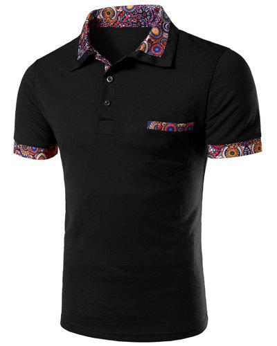 Casual Turn-down Collar Floral Spliced Short Sleeves Men's Polo T-Shirt - M BLACK
