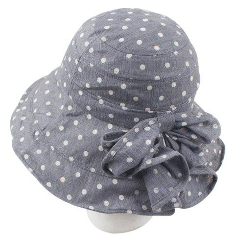 Chic Bow Embellished Women's Polka Dot Sun Hat - DEEP GRAY
