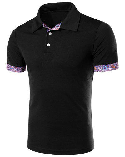 Flower Spliced Turn-down Collar Short Sleeves Men's Polo T-Shirt - BLACK M