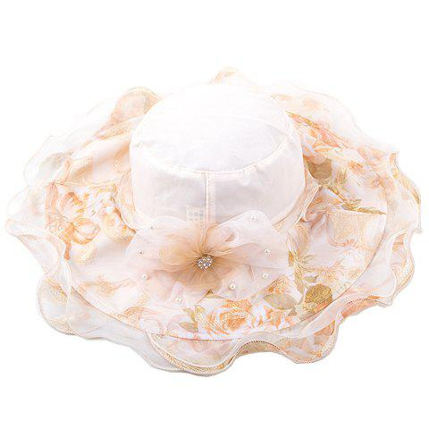 Chic Flower Rhinestone Faux Pearl Lace Embellished Women's Floral Sun Hat - OFF WHITE
