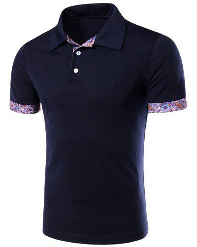 Flower Spliced Turn-down Collar Short Sleeves Men's Polo T-Shirt - CADETBLUE L