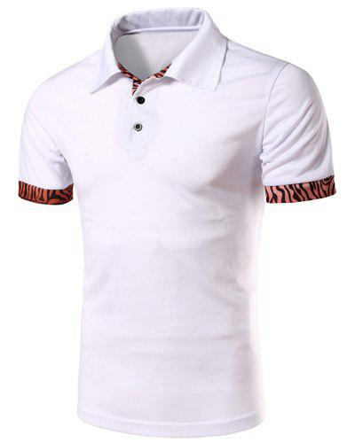 Casual Turn-down Collar Tree Stripes Spliced Men's Short Sleeves T-Shirt - WHITE XL