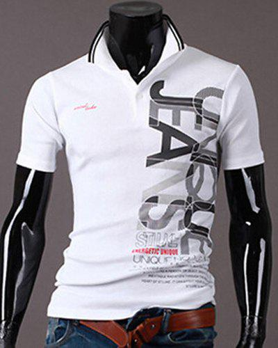 New Style Turn-down Collar Letters Print Short Sleeves Men's Polo T-Shirt - WHITE XL