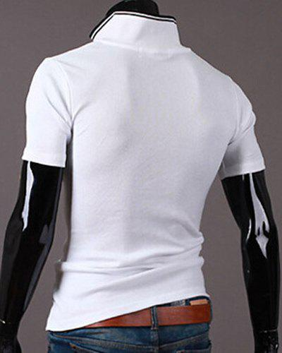 New Style Turn-down Collar Letters Print Short Sleeves Men's Polo T-Shirt - WHITE M
