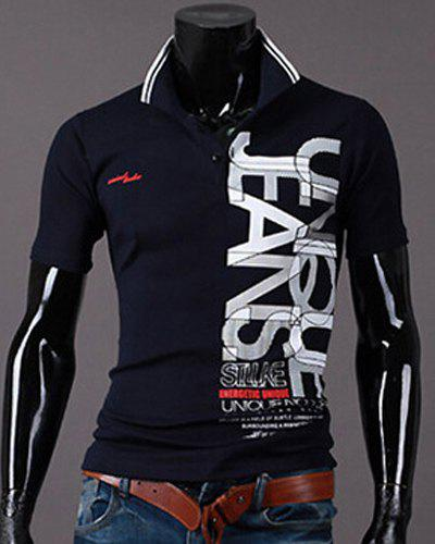 New Style Turn-down Collar Letters Print Short Sleeves Men's Polo T-Shirt - CADETBLUE M