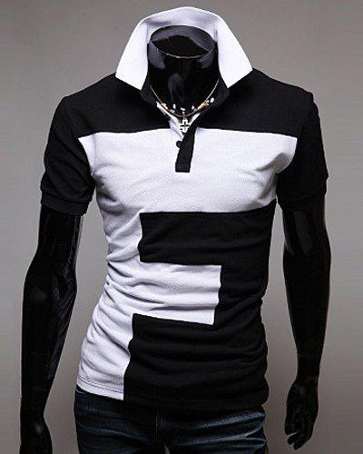 Color Lump Spliced Turn-down Collar Short Sleeves Men's Polo T-Shirt