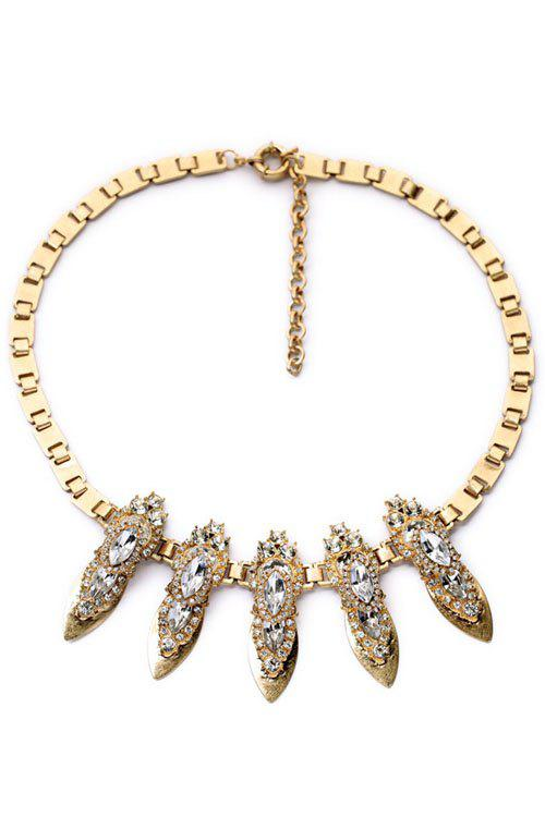 Vintage Faux Crystal Box Chain Necklace For Women
