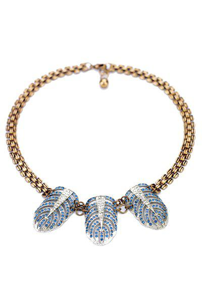Vintage Rhinestone Feather Decorated Necklace For Women