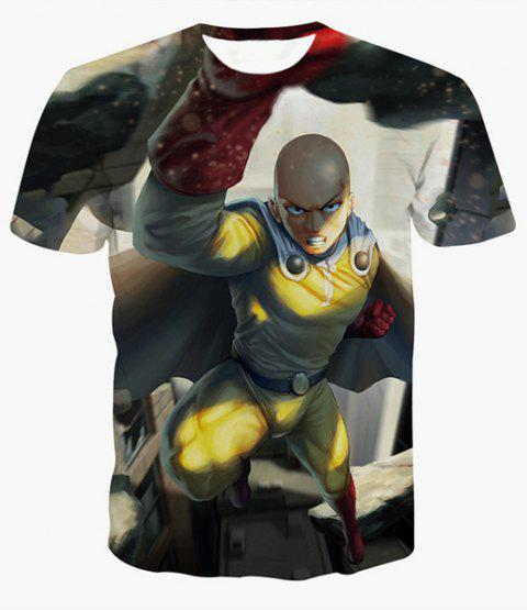Fashion Round Collar Pullover Man Printed T-Shirt For Men - COLORMIX M