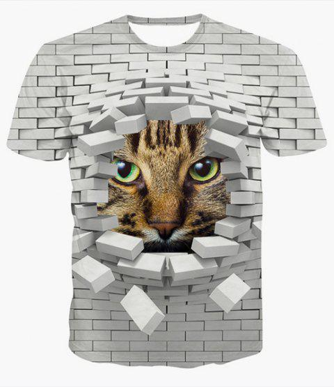 Fashion Round Collar Pullover 3D Wall Printed T-Shirt For Men - COLORMIX 2XL