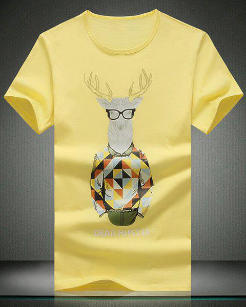 Round Neck Cartoon Deer Pattern Print Short Sleeve Men's T-Shirt - YELLOW 2XL