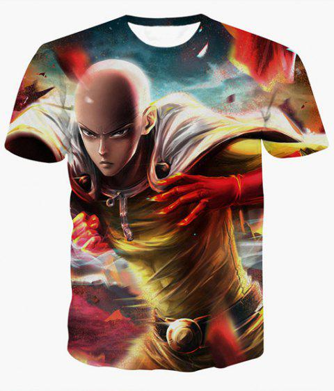 Fashion Pullover Round Collar Man Printed T-Shirt For Men - COLORMIX S