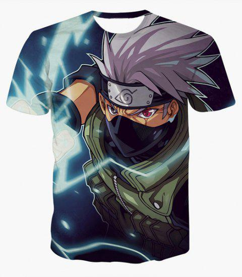 Fashion Round Collar Pullover Ninja Printed T-Shirt For Men - COLORMIX S