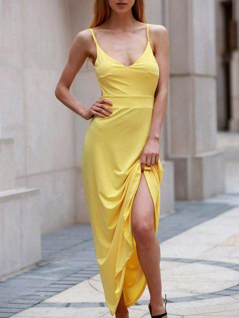 Sexy Spaghetti Strap manches Backless solide Maxi Dress Femmes Couleur - Jaune XL