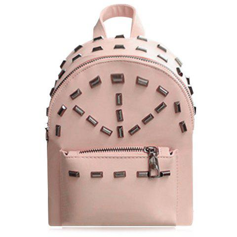 Preppy Style Rivets and PU Leather Design Backpack For Women - PINK