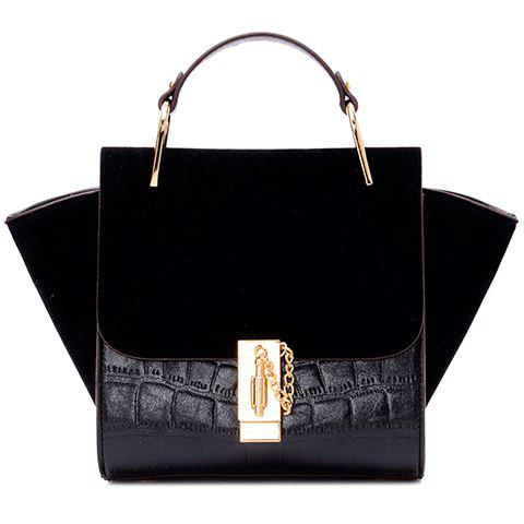 Stylish Embossing and Splicing Design Women's Tote Bag - BLACK