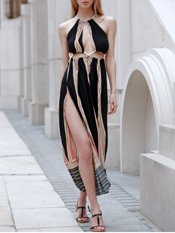 261ff651ed9f Sexy Sleeveless Backless Colored Hollow Out Rope Design Women s Maxi Dress