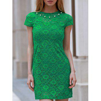 Stylish Round Neck Short Sleeve Slimming Women's Lace Dress