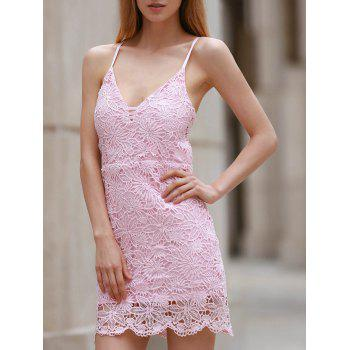 Spaghetti Strap Sleeveless Open Back Pink Lace Dress For Women