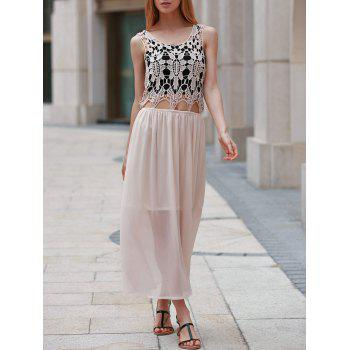 Cute Scoop Neck Sleeveless Hollow Out Women's Chiffon Dress