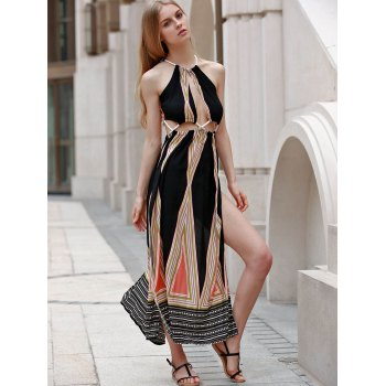 Sexy Sleeveless Backless Colored Hollow Out Rope Design Women's Maxi Dress - COLORMIX S
