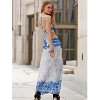 Sexy Spaghetti Strap Sleeveless Criss-Cross Backless Printed Crop Top + Slit Skirt Women's Twinset - BLUE XL
