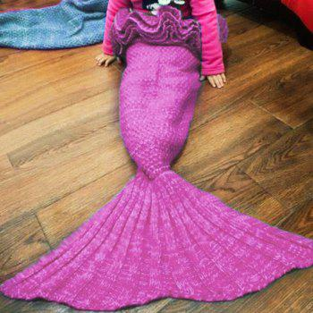 Sweet Hand Knitting Mermaid Design Baby Sleeping Bag Blanket - PURPLE ONE SIZE(FIT SIZE XS TO M)