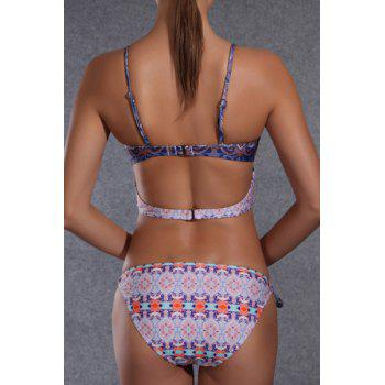 Stylish Women's Spaghetti Strap Ethnic Print Bikini Set - BLUE XL