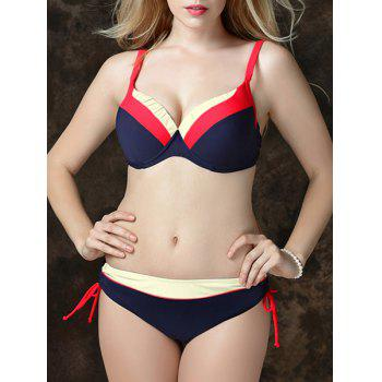 Sexy Plus Size Spaghetti Color Block Women's Bikini Set - RED RED