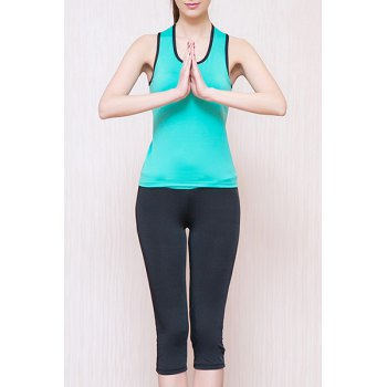 Sporty Women's U Neck Padded Racerback Top and Yoga Pants Suit - LAKE BLUE M