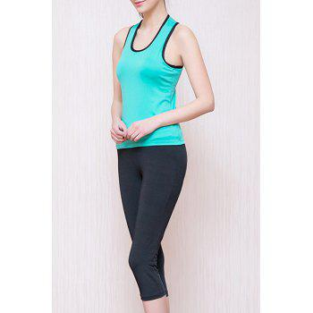 Sporty Women's U Neck Padded Racerback Top and Yoga Pants Suit - LAKE BLUE LAKE BLUE
