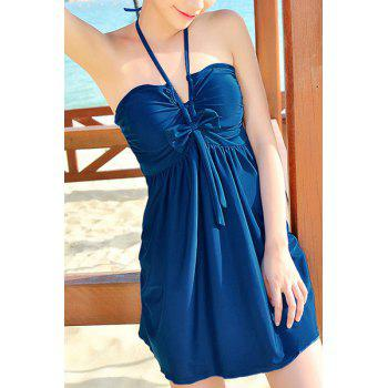 Stylish Women's Halter Bowknot Cover Dress + Boxers Swimsuit