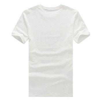 Letters and 3D Printed Round Neck Short Sleeve Men's T-Shirt - WHITE WHITE