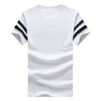 Square Printed Round Neck Short Sleeve Men's T-Shirt - 3XL 3XL