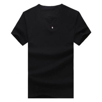 Solid Color V-Neck Button Embellished Short Sleeve Men's T-Shirt - BLACK BLACK