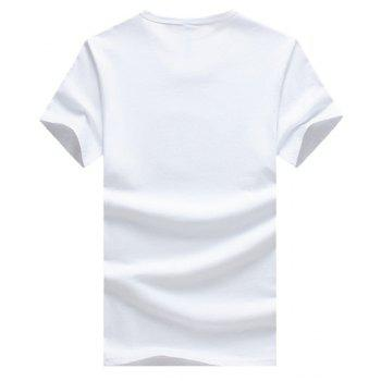 Cartoon Printed Round Neck Short Sleeve Men's T-Shirt - WHITE L
