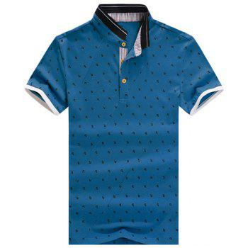 Anchor Printed Stand Collar Spliced Design Short Sleeve Men's Polo T-Shirt - BLUE XL