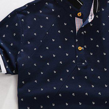 Anchor Printed Stand Collar Spliced Design Short Sleeve Men's Polo T-Shirt - XL XL