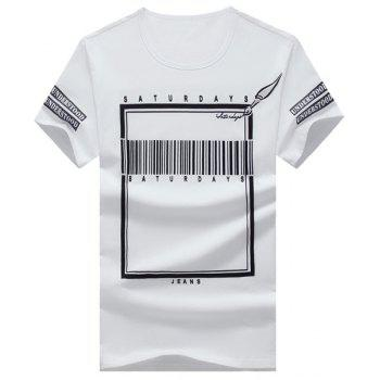 Letters and Geometric Printed Round Neck Short Sleeve Men's T-Shirt - WHITE WHITE