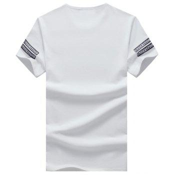 Letters and Geometric Printed Round Neck Short Sleeve Men's T-Shirt - XL XL