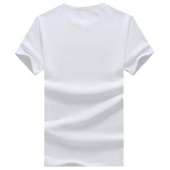 Cartoon and Geometric Printed Round Neck Short Sleeve Men's T-Shirt - WHITE WHITE