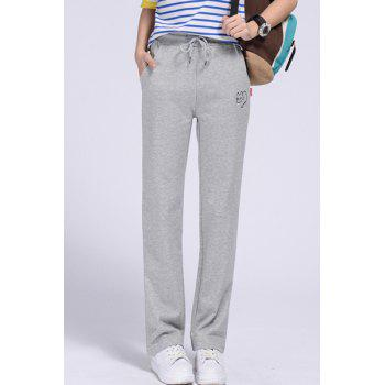 Casual Women's Drawstring Cat Print Loose-Fitting Sports Pants - LIGHT GRAY L