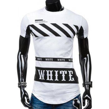 Special Hem Letters Stripes Print Round Neck Short Sleeves Men's T-Shirt - WHITE XL