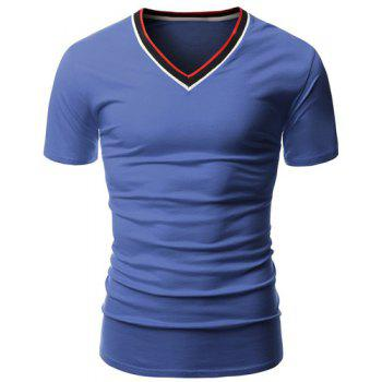 Color Block Rib Spliced V-Neck Short Sleeves Men's T-Shirt - BLUE BLUE